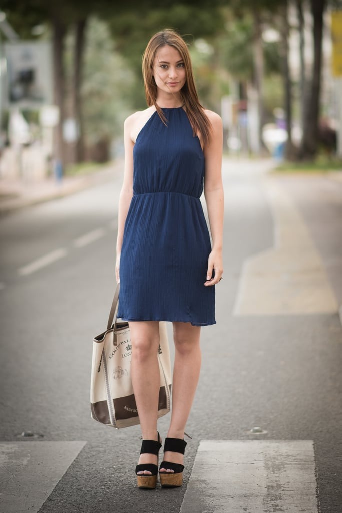 A navy halter dress means you're ready for a day in the sun.
