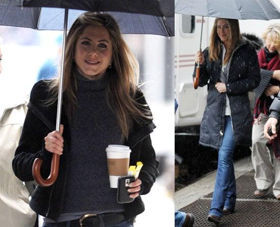 Aniston on Set