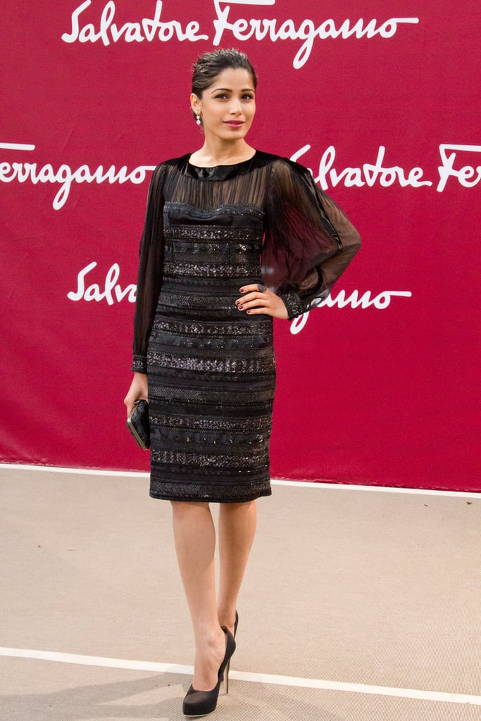 Freida Pinto struck a pose at the Salvatore Ferragamo Resort collection show in Paris.