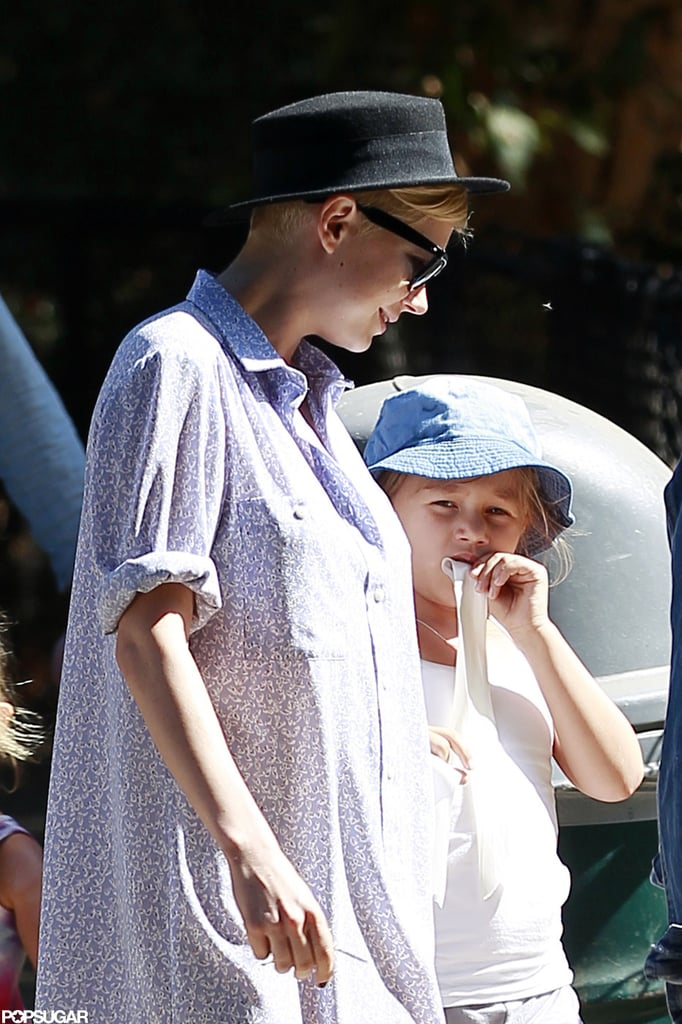 Michelle Williams and Matilda Ledger both wore hats for their park playdate.