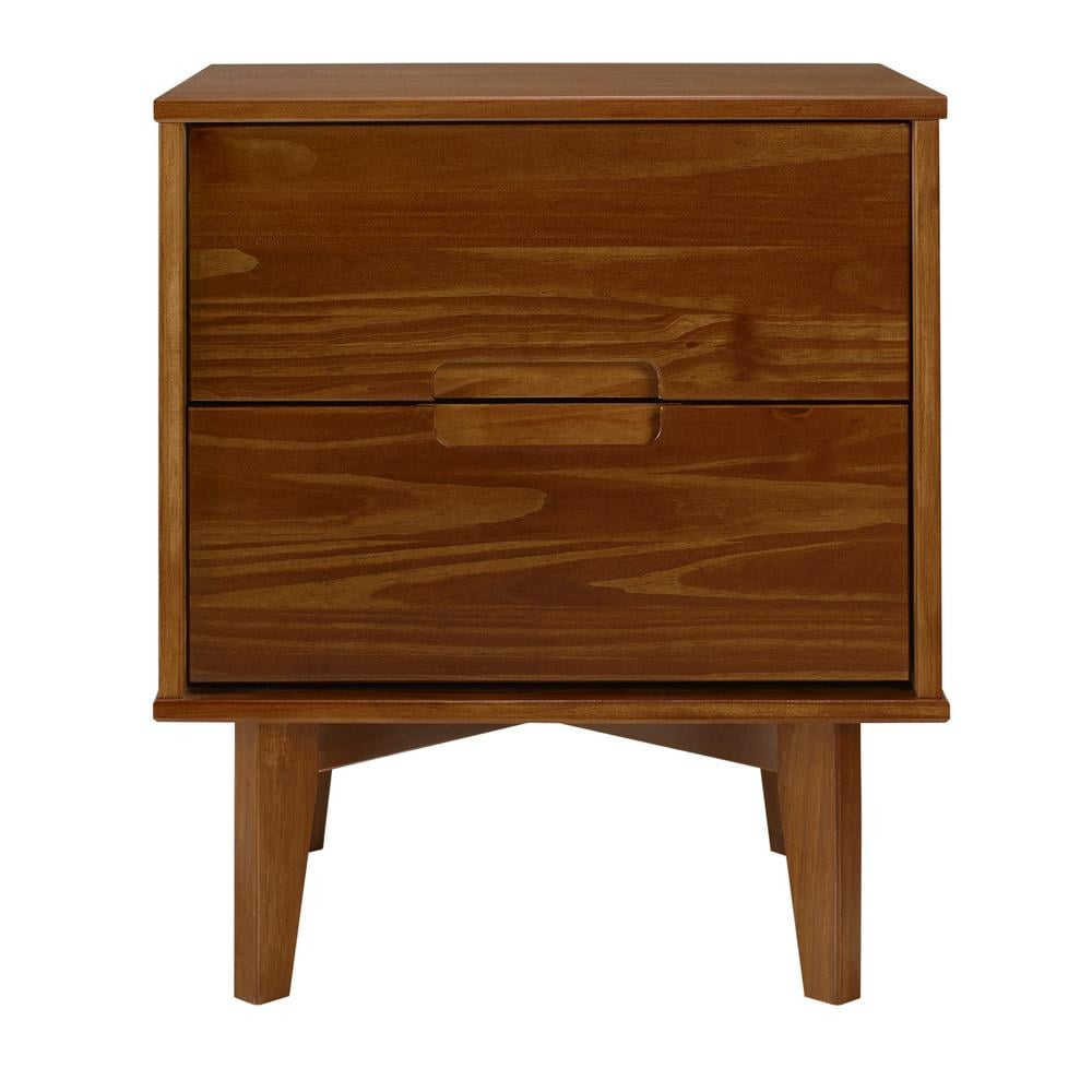 Walker Edison Furniture Company 2-Drawer Caramel Mid Century Modern Wood