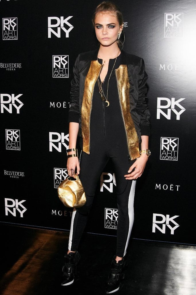Cara Delevingne at the launch party for DKNY Artworks in London.