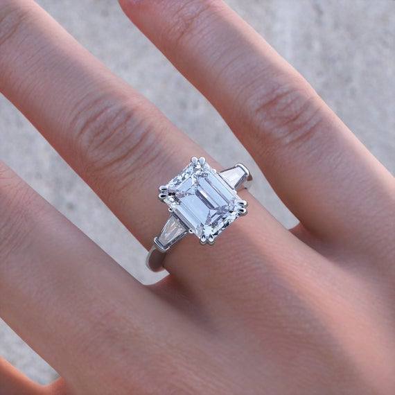 Emerald Cut and Tapered Moissanite Baguettes Three Stone ... - photo#21