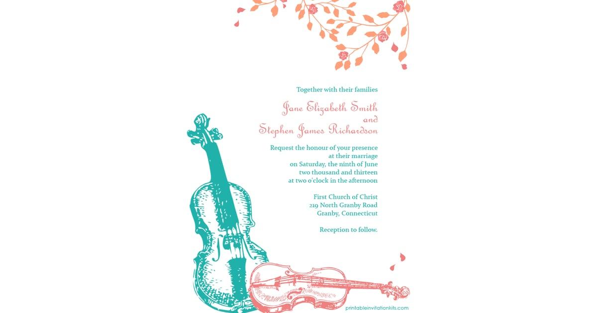 violin wedding invitation free printable wedding