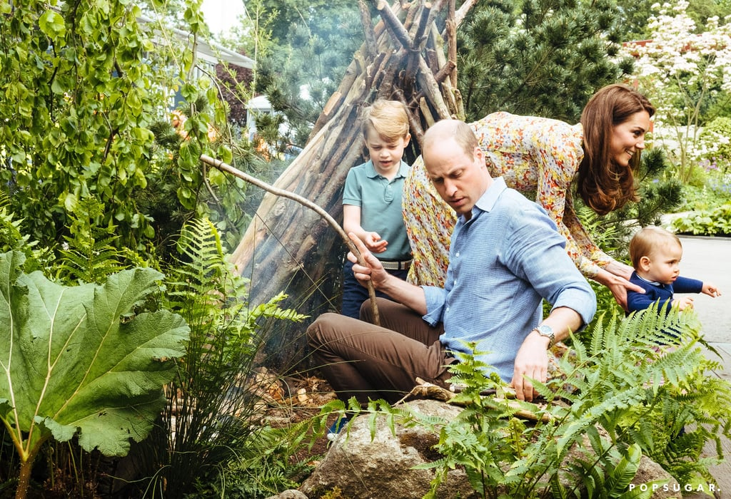 "Looks like Kate Middleton's Chelsea Flower Show Garden already has a few adventurous (and adorable) fans. The Duchess of Cambridge recently brought Prince William and their children, Prince George, Princess Charlotte, and Prince Louis, along to the royal ""Back to Nature"" garden ahead of its grand opening on Monday.  In photos shared on May 19, the royal family are seen exploring the garden's stream and rope swing. How sweet! Kate codesigned the garden alongside landscape architects Davies White, with her passion for the outdoors and her focus on early childhood development in mind. She drew from her own upbringing and the memories she shares with her own children. On Monday, Kensington Palace released an Instagram video from the family outing, and George adorably gave the garden a ""20 out of 10!"" Keep reading to see all of the family's precious photos, then get the details on Kate's floral dress."