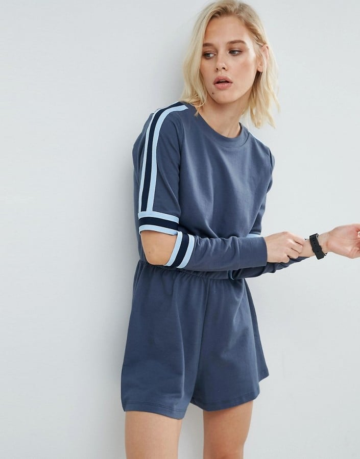 Asos Contrast Stripe Romper With Cutout Elbows