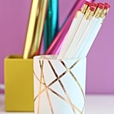DIY Rose Gold Foiled Pencil Cup
