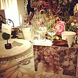 Taylor Swift tablescape with all her exes on the table seat cards at the San Francisco Wedding Fair.