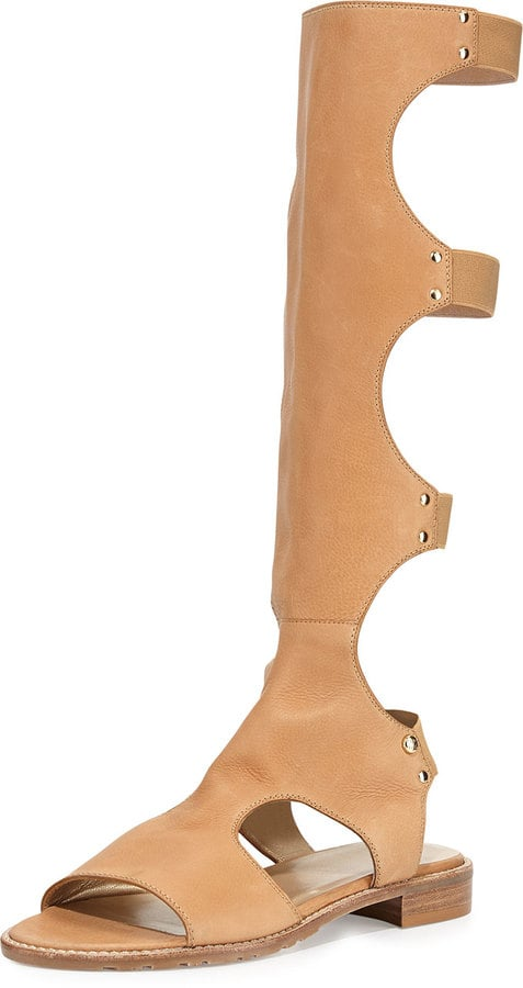 Stuart Weitzman Backview Leather Gladiator Sandal, Pecan ($535)