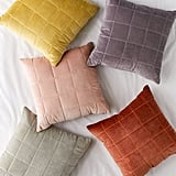 Quilted Grid Velvet Throw Pillow