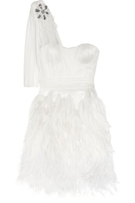 This may just be the most glamorous afterparty dress we've come across. For the bride looking to make a statement and get down on the dance floor, this dress covers all your bases.  Matthew Williamson Ostrich Feather-Trimmed Silk Tulle Dress ($6,500)