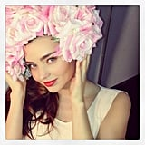 Miranda Kerr wore a gorgeous flower headpiece. Source: Instagram user mirandakerr
