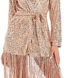 PSFS V-Neck Sequins Solid Color Tassel Dress