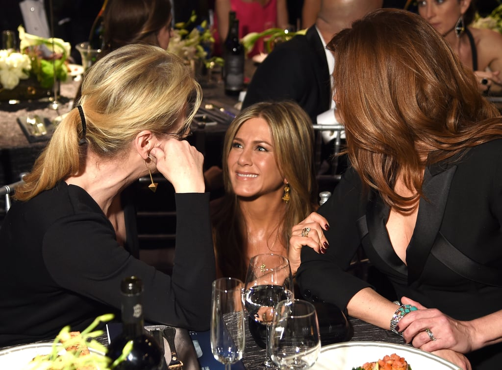 In a true power-trio moment, Jennifer Aniston headed over to Julia Roberts and Meryl Streep's table at the SAG Awards for some animated conversation. We can't help but wonder — what was the A-list group chatting about? Their nominations? Upcoming projects? The food? Earlier in the night, Jennifer hit the red carpet with her fiancé, Justin Theroux, while Meryl and Julia posed for pictures solo. Take a look at cute pictures of the group's award show moment, and then check out all the celebrities on the SAG Awards red carpet!