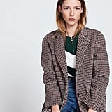 Sandro Wool and Cotton Coat With Printed Checks