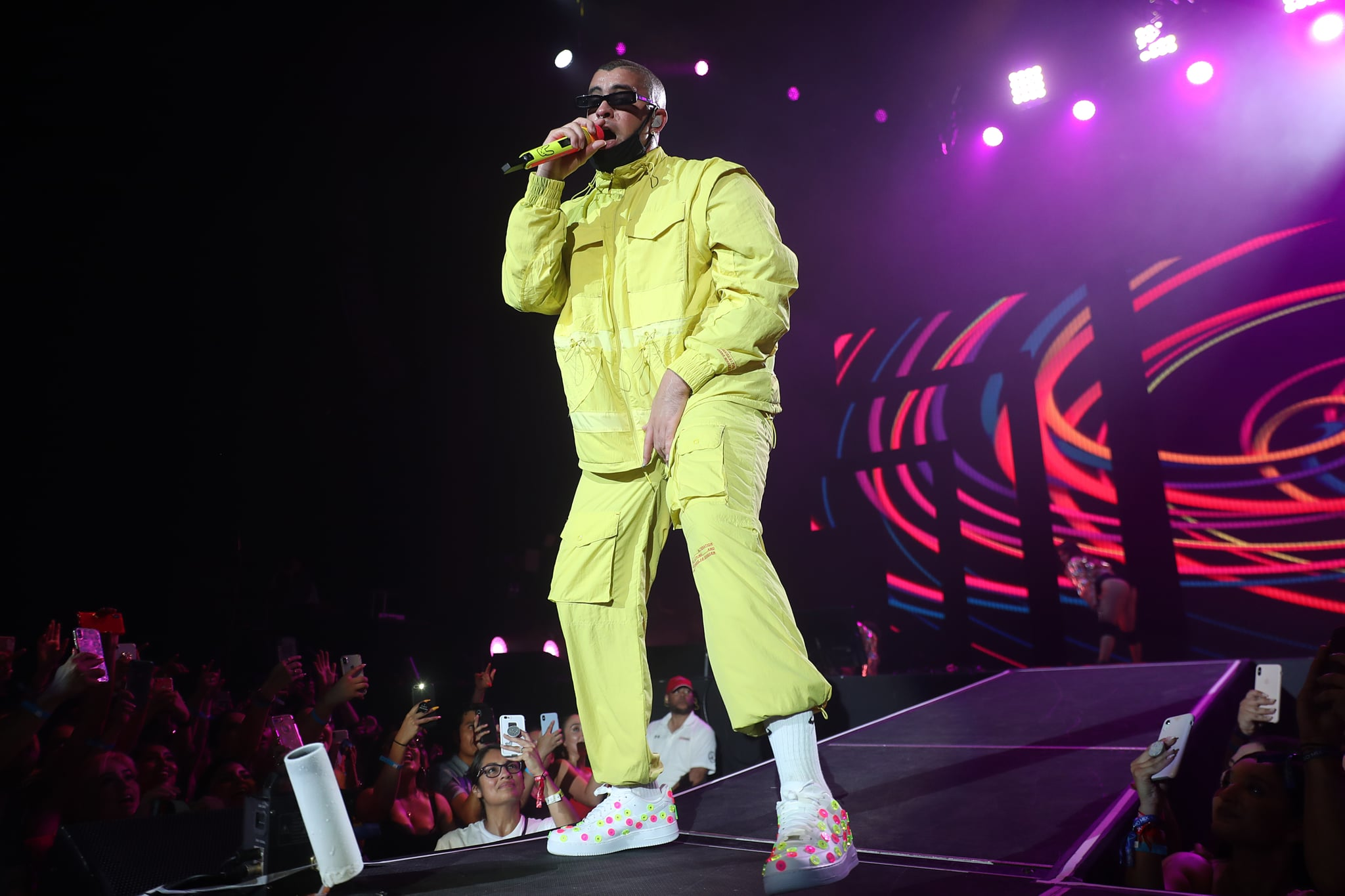 DALLAS, TX - AUGUST 08: Puerto Rican singer Bad Bunny performs on stage during the Uforia Latino Mix Live: Dallas at Dos Equis Pavilion on August 8, 2019 in Dallas, Texas.  (Photo by Omar Vega/Getty Images)