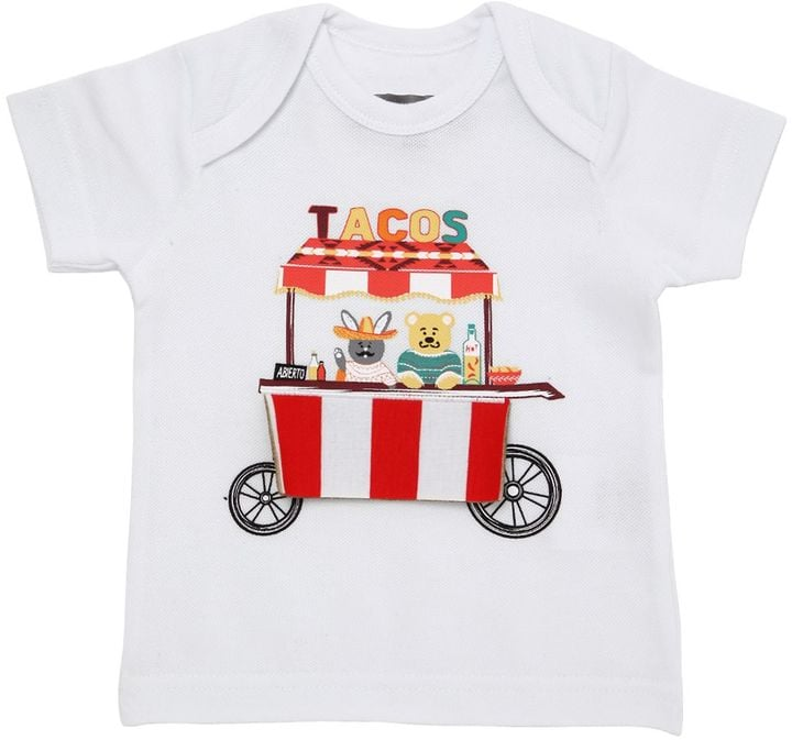 Tacos Printed Cotton Piqué T-Shirt