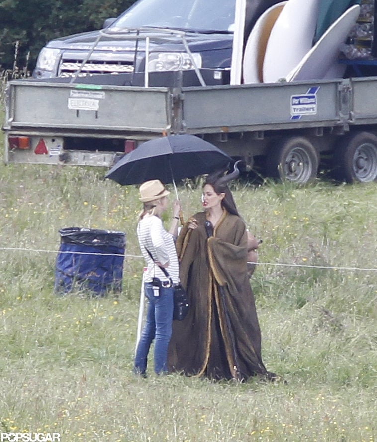 Angelina Jolie on the Maleficent set in England.