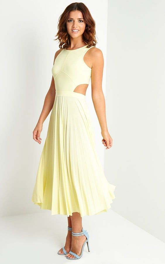 Pretty Little Thing Lemon Cut Out Pleated Midi Dress 163 30