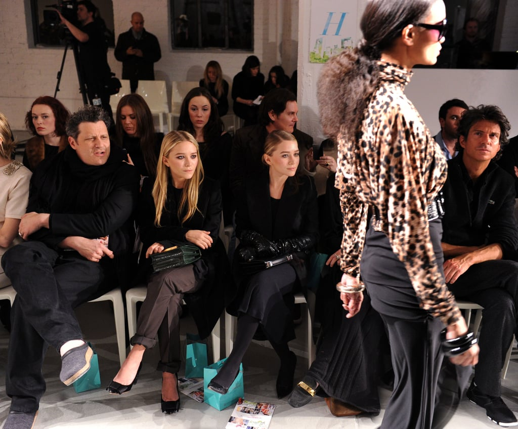 Issac Mizrahi sat front row with Mary-Kate and Ashley Olsen at the QVC fashion show.  Photo courtesy of worldredeye.com
