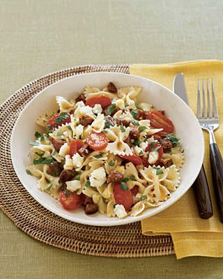 Fast easy real simple recipe for bow tie pasta with chorizo fast easy real simple recipe for bow tie pasta with chorizo tomatoes popsugar food ccuart Images
