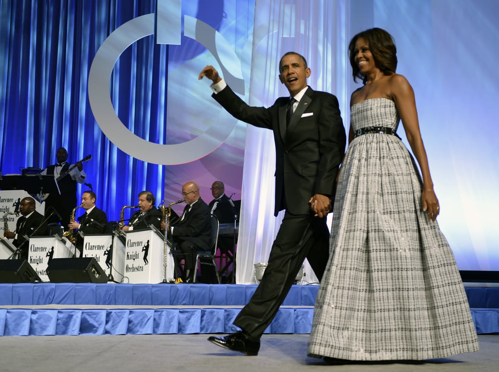 At the annual Phoenix Awards Dinner in 2013, Michelle pulled her go-to J.Crew belt from her wardrobe to finish off this plaid gown.