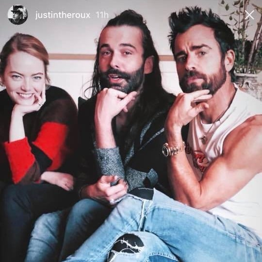 Justin Theroux and Emma Stone With Queer Eye's Jonathan
