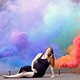 Smoke Grenade Rainbow Baby Maternity Photos