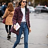 Add your color by way of a timeless classic, the tweed jacket, thrown on over a pair of jeans and white tee.