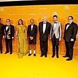 Pictured: Florence Kasumba, Seth Rogen, Elton John, Beyoncé, Pharrell Williams, Tim Rice, Billy Eichner, Jon Favreau, and Hans Zimmer at The Lion King premiere in London.