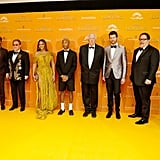 Pictured: Florence Kasumba, Seth Rogen, Elton John, Beyoncé, Pharrell Williams, Tim Rice, Billy Eichner, Jon Favreau, and Hans Zimmer at The Lion King premiere in London.