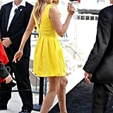 While in Miami, Lauren Conrad looked fresh in this yellow Skaist Taylor dress ($480) and these Aldo beige ankle-strap wedges ($80).