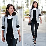 Layered Button-Down, Sweater, and Blazer