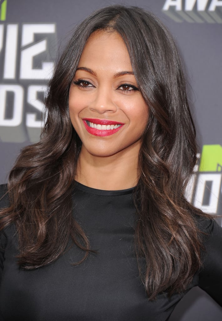 Zoe Saldana's crimson lip color and effortless waves were your favorite look on the MTV Movie Awards red carpet.