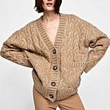 Zara Woven Oversize Cardigan