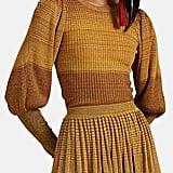 Ulla Johnson Dax Metallic Striped Rib-Knit Top