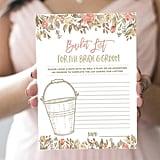 Bucket List Printable Bridal Shower Game