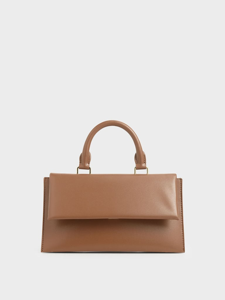 Charles & Keith Brown Rectangular Top Handle Bag