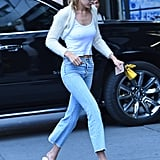 Gigi Hadid Wearing Fur Heeled Mules
