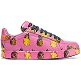 The Dolce & Gabbana's Printed Leather Sneakers ($875) make for a tropical splash in your wardrobe.