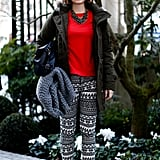 Printed pants and a red tee added up to a statement-making effect in this showgoer's ensemble.