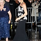 Meghan Wore a Sequined Safiyaa Top With a Black Mermaid Skirt