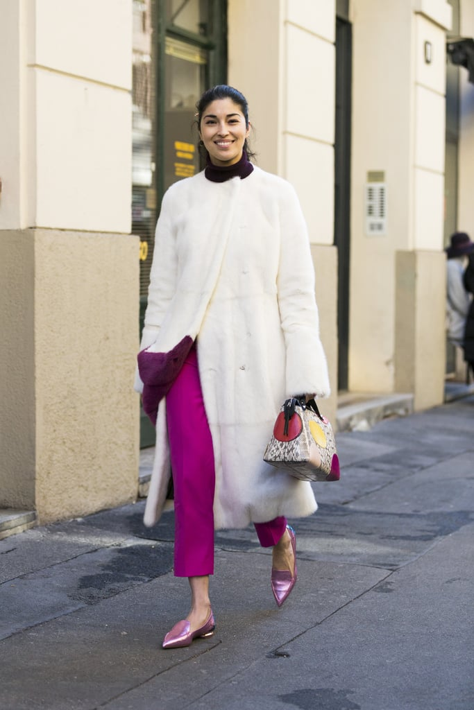 Style Your White Coat With a Pair of Bright Pants