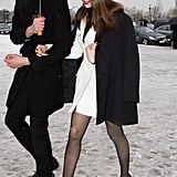 Laetitia knows how to work a leggy look even in the dead of Winter.