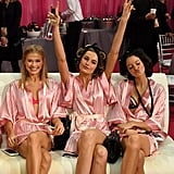 Bridget posed with models Vita Sidorkina and Megan Puleri backstage before the show.