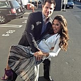 New parents Nick and Vanessa Lachey tangoed in the parking lot before heading in to watch DWTS. Source: Twitter user VanessaLachey