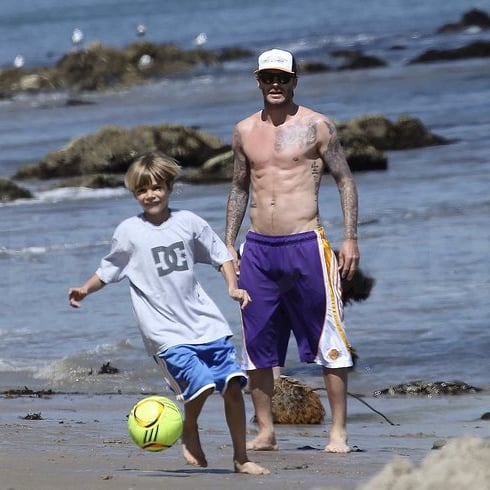 David Beckham Shirtless Pictures With Sons Romeo, Brooklyn, Cruz
