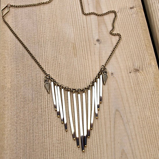 Acid Zip Dangling Chain Porcupine Quill Necklace, $50