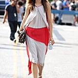 This flowy, colorblocked confection was made all the more wearable with a pair of flat sandals. Source: Greg Kessler