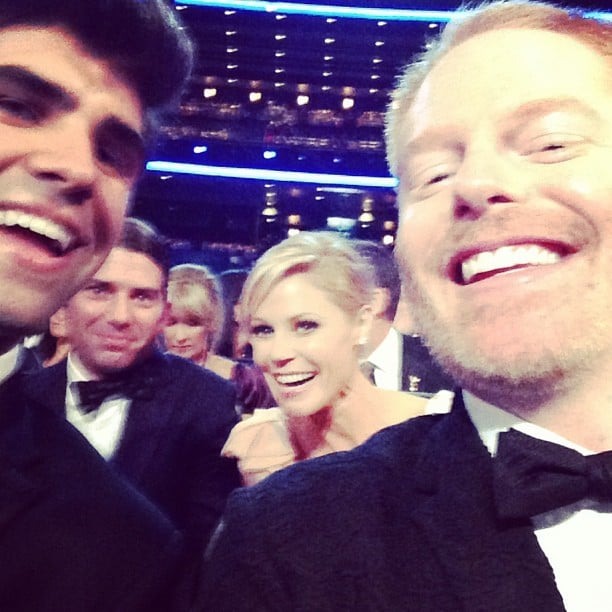 Jesse Tyler Ferguson snapped a photo with his husband, Justin Mikita, and his Modern Family costar Julie Bowen. Source: Instagram user jessetylerferguson